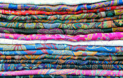 Traditional colored fabrics in the Indian market Stock Images