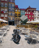 Traditional colored houses in Ribeira district of Porto Stock Photo