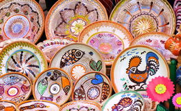 Ceramic. Traditional colored pottery - Horezu, Romania Royalty Free Stock Photo