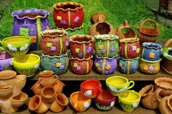 Ceramic. Traditional colored pottery - Horezu, Romania Stock Images