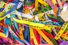 Traditional colored ribbons called Bonfim in Bahia, Brazil. Traditional colored ribbons called Bonfim in Bahia royalty free stock photography