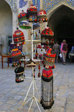 Traditional colored  Uzbek hats. Traditional Uzbek hats for sale on a market in a madrasah in Samarkand Royalty Free Stock Images