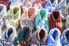 Socks. Traditional colorful woolen socks on the market made in iran masouleh Stock Image