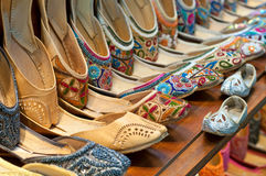 Traditional colorful Arabic slippers Stock Images