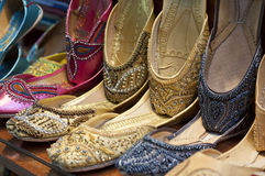 Traditional colorful Arabic slippers Royalty Free Stock Images