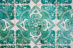 Traditional colorful azulejos in Lisbon, Portugal - Green tiles. Traditional colorful azulejos in Lisbon, Portugal - Vintage green tiles stock photos