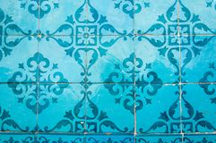 Traditional colorful azulejos in Lisbon, Portugal - Blue tiles. Traditional colorful azulejos in Lisbon, Portugal - Vintage blue tiles stock photo