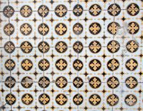 Traditional colorful azulejos in Lisbon, Portugal - Yellow and black tiles. Traditional colorful azulejos in Lisbon, Portugal - Vintage yellow and black tiles Royalty Free Stock Photo