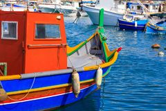 Traditional colorful boat luzzu at the port of Marsaxlokk, Malta. Closeup view royalty free stock photos