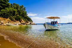 Traditional colorful boats in old town of Skiathos island, Sporades, Greece stock photos