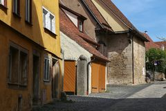 Traditional, colorful buildings in the historic old town of Rothenburg ob der Tauber stock photos