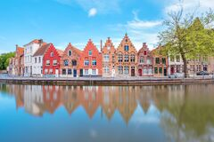 Traditional colorful buildings on the riverside in Brugge, Belgium