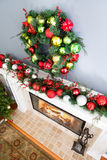 Traditional colorful Christmas wreath Stock Photos