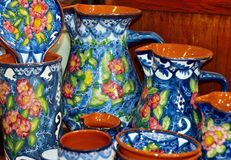 Typical crockery in bright colors from Portugal royalty free stock photos