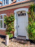 Traditional colorful door in old Ribe, Denmark stock photo