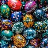 Colorful easter eggs natural coloring with bees wax stock image