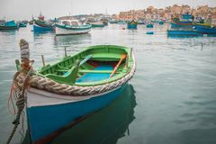 Traditional colorful fishing boats in Malta, mediterranean island royalty free stock photos