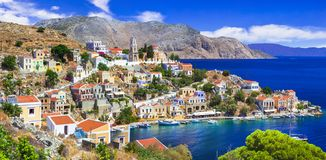 Traditional colorful Greece series - beautiful Symi island near Rhodes Dodecanese royalty free stock photography