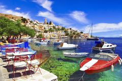 Traditional colorful Greece series - beautiful Symi island near Rhodes Dodecanese stock images