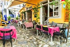 colorful Greece series - cute taverns in Skiathos island. royalty free stock photos