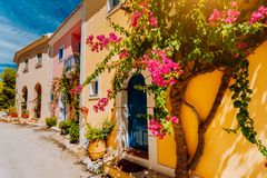 Traditional colorful greek houses in Assos village. Blooming fuchsia plant flowers growing around door. Warm sunlight. Kefalonia royalty free stock photo