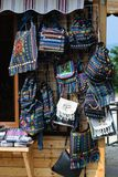 Traditional colorful handmade bags at the street market Royalty Free Stock Photography