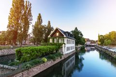 Traditional colorful houses in La Petite France, Strasbourg, Alsace, France. Town view royalty free stock image