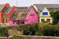 Doolin. Traditional colorful houses in the little village of Doolin, County clare, Ireland stock images