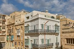 Traditional colorful and modern architecture and houses in Valle. Tta in Malta Royalty Free Stock Images