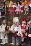 Traditional colorful puppets made of wood in shop, Prague , Czech Republic Stock Images