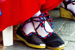 Traditional colorful shoes for folk costumes in Spain, dance shoes. Espadrilles royalty free stock photos