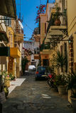 Traditional colorful street in Chania, Greece Royalty Free Stock Photography