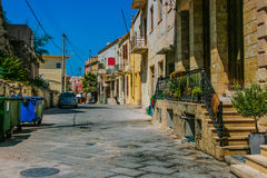 Traditional colorful street in Chania, Greece Stock Photo