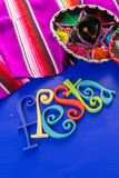 Fiesta. Traditional colorful table decorations for celebrating Fiesta Royalty Free Stock Photo