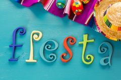 Fiesta. Traditional colorful table decorations for celebrating Fiesta Royalty Free Stock Photos