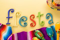 Fiesta. Traditional colorful table decorations for celebrating Fiesta Stock Photos