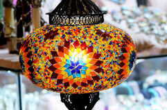 Traditional colorful Turkish glass lamp Stock Photography
