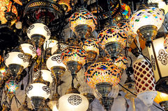 Traditional colorful Turkish glass lamps Royalty Free Stock Photo