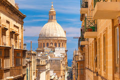 Traditional colorful wooden balconies, Malta Royalty Free Stock Photo