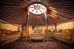 Traditional colorful yurta interior from the nomadic people in Kalmykia Royalty Free Stock Photo