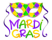 Traditional colors carnival mask with hand drawn Mardi Gras lettering isolated  Royalty Free Stock Photo