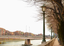 Traditional colourful houses on the bank of Adige River, Verona, Italy Royalty Free Stock Photography