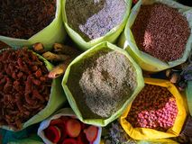Traditional colourful spiecies in a typical exotic moroccan suk market stock photo