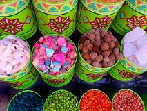 Traditional colourful spiecies in a typical exotic moroccan suk market royalty free stock photo