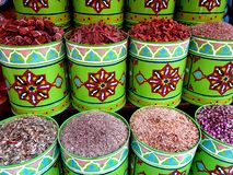Traditional colourful spiecies in a typical exotic moroccan suk market stock image