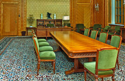 Traditional conference room. Nicolae Ceausescu's office in Sinaia, where now the Governing Board meetings are held royalty free stock images