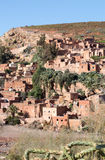 Traditional conservative berber village in Atlas mountains, Moro. Cco. Vertical crop stock photo