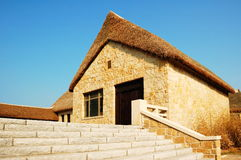 Traditional construction. The traditional construction in eastern coast Shandong China, the characteristic is the stone wall and the sea plant roof Stock Photography