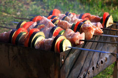 Traditional cooking meat on skewers Royalty Free Stock Image