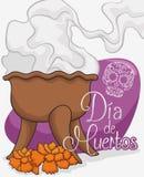 Traditional Copal's Incense Offering to Celebrate 'Dia de Muertos', Vector Illustration stock illustration